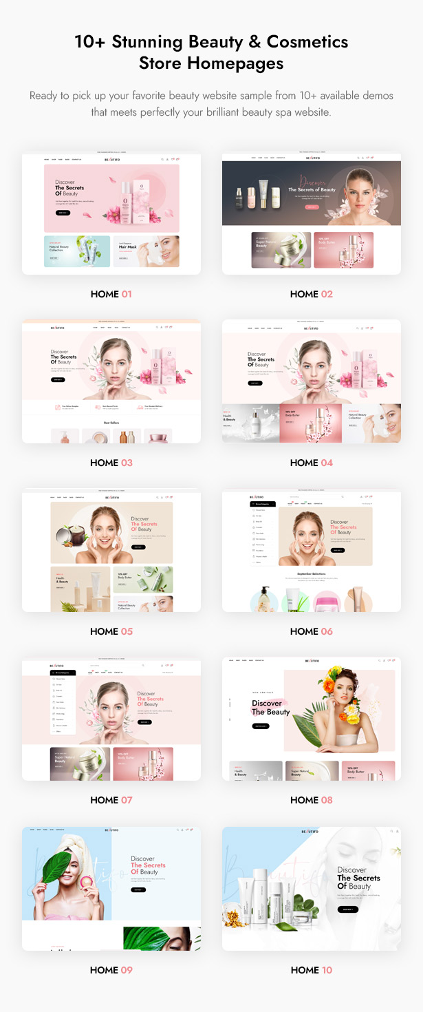 Beautifo Beauty WooCommerce WordPress Theme - 10+ Premade Beautiful Beauty Homepages