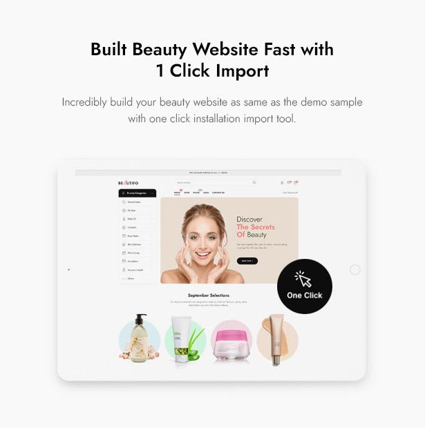 Beautifo Beauty WooCommerce WordPress Theme - 1 Click Installation Import Beauty Content