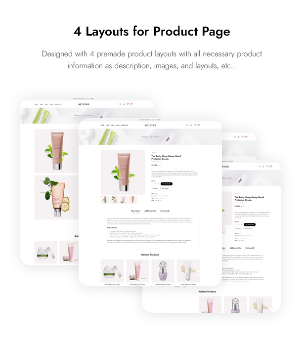 Beautifo Beauty WooCommerce WordPress Theme - 4 Products Layouts for Beauty Cosmetics
