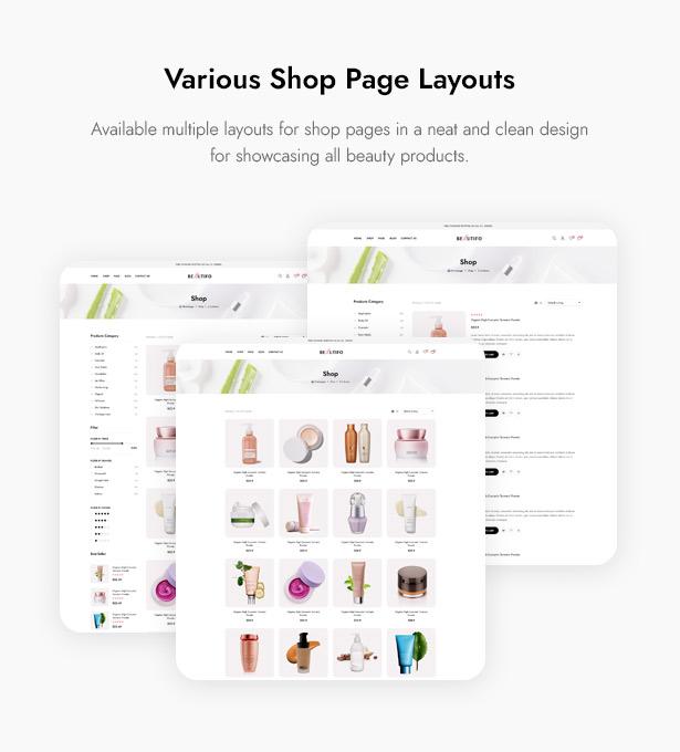 Beautifo Beauty WooCommerce WordPress Theme - Multiple Beauty Cosmetics Shop Page Layouts