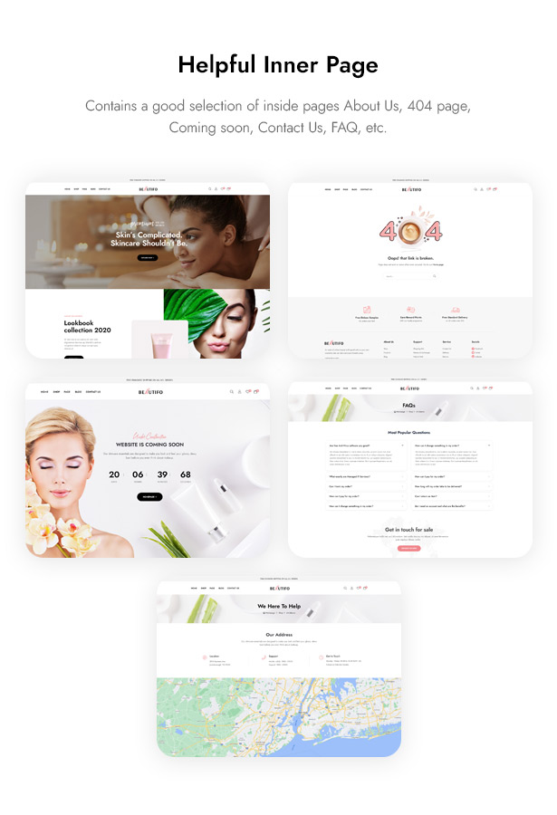 Beautifo Beauty WooCommerce WordPress Theme - Inner Pages for Beauty & Skincare Shop