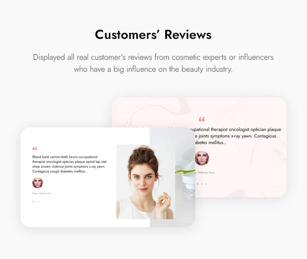 Beautifo Beauty WooCommerce WordPress Theme - Impressive Customers' Reviews on Beauty Website