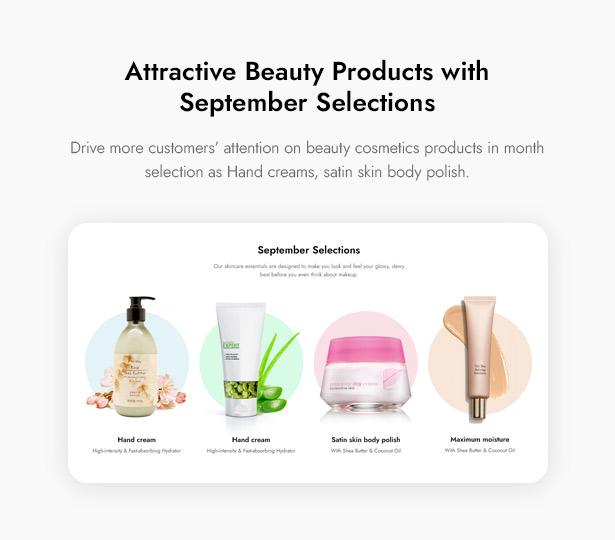 Beautifo Beauty WooCommerce WordPress Theme - Display September Selections
