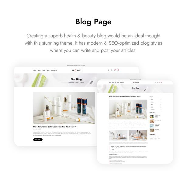Beautifo Beauty WooCommerce WordPress Theme - Beauty Blog Page