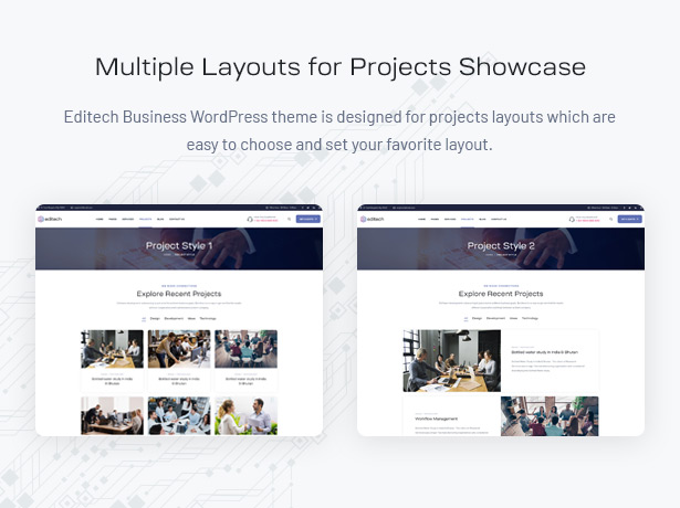 Editech Corporate Business WordPress Theme - Multiple Layouts for Projects Showcase