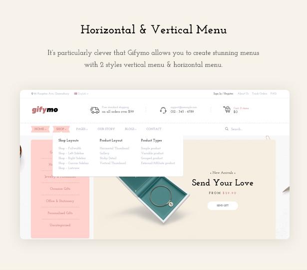 Horizontal Vertical Menus - Giftshop WooCommerce Theme