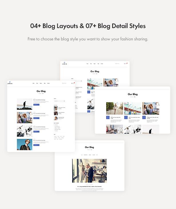 Jenik Gutenberg Fashion WooCommerce Theme - Blog Layouts