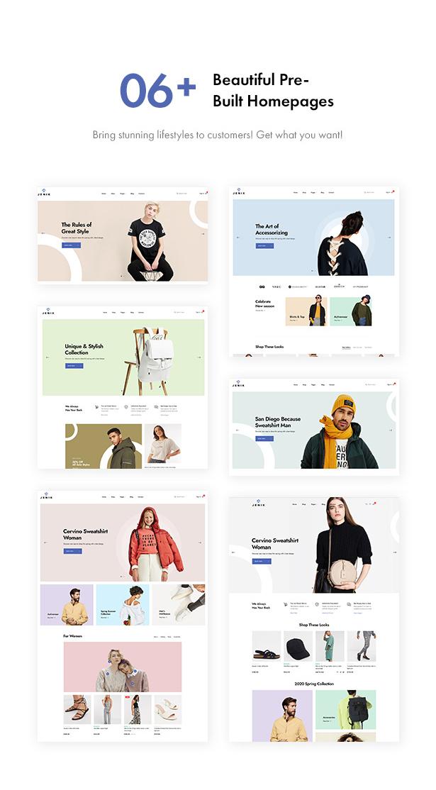 Jenik Gutenberg Fashion WooCommerce Theme - Homepages