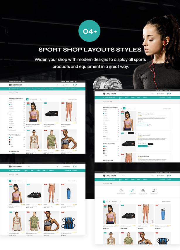 Shop pages - Sport shop Woocommerce Wordpress Theme