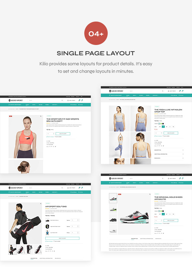 Product detail page - Sport shop Woocommerce Wordpress Theme