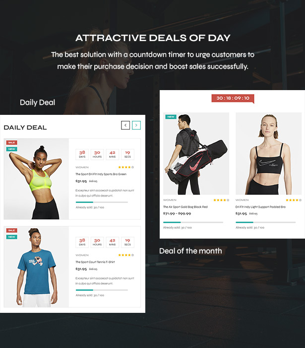 Deals of the day - Sport shop Woocommerce Wordpress Theme