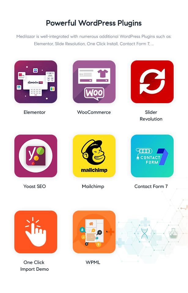 Medilazar Pharmacy WooCommerce WordPress Theme - Plugins Integrations